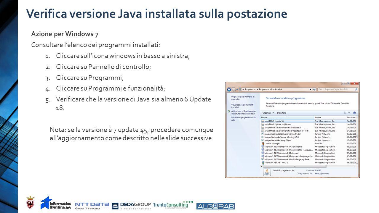 Verifica versione Java installata sulla postazione Azione per Windows 7 Consultare l'elenco dei programmi installati: 1.Cliccare sull'icona windows in basso a sinistra; 2.Cliccare su Pannello di controllo; 3.Cliccare su Programmi; 4.Cliccare su Programmi e funzionalità; 5.Verificare che la versione di Java sia almeno 6 Update 18.
