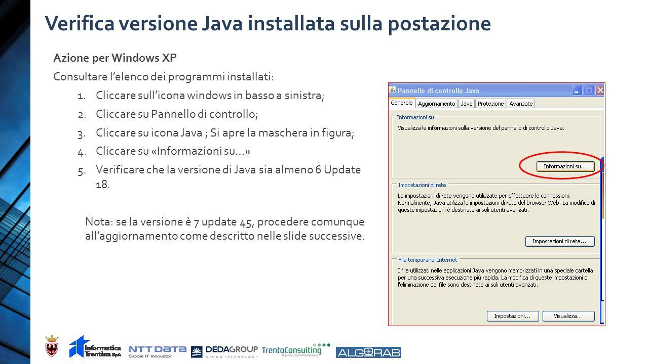 Verifica versione Java installata sulla postazione Azione per Windows XP Consultare l'elenco dei programmi installati: 1.Cliccare sull'icona windows in basso a sinistra; 2.Cliccare su Pannello di controllo; 3.Cliccare su icona Java ; Si apre la maschera in figura; 4.Cliccare su «Informazioni su…» 5.Verificare che la versione di Java sia almeno 6 Update 18.