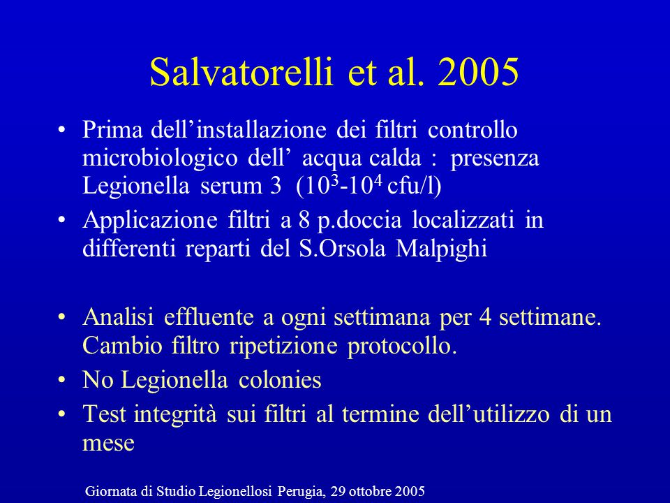 Use of terminal tap water filter systems for prevention of nosocomial legionellosis R.P.