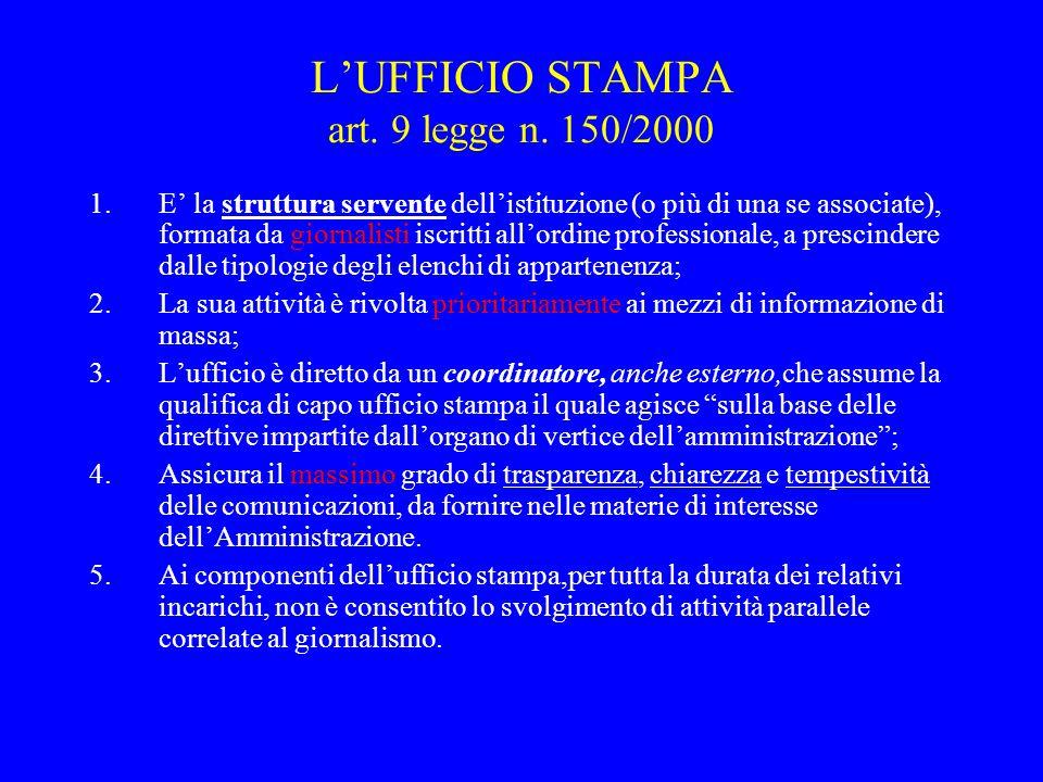 L'UFFICIO STAMPA art.9 legge n.