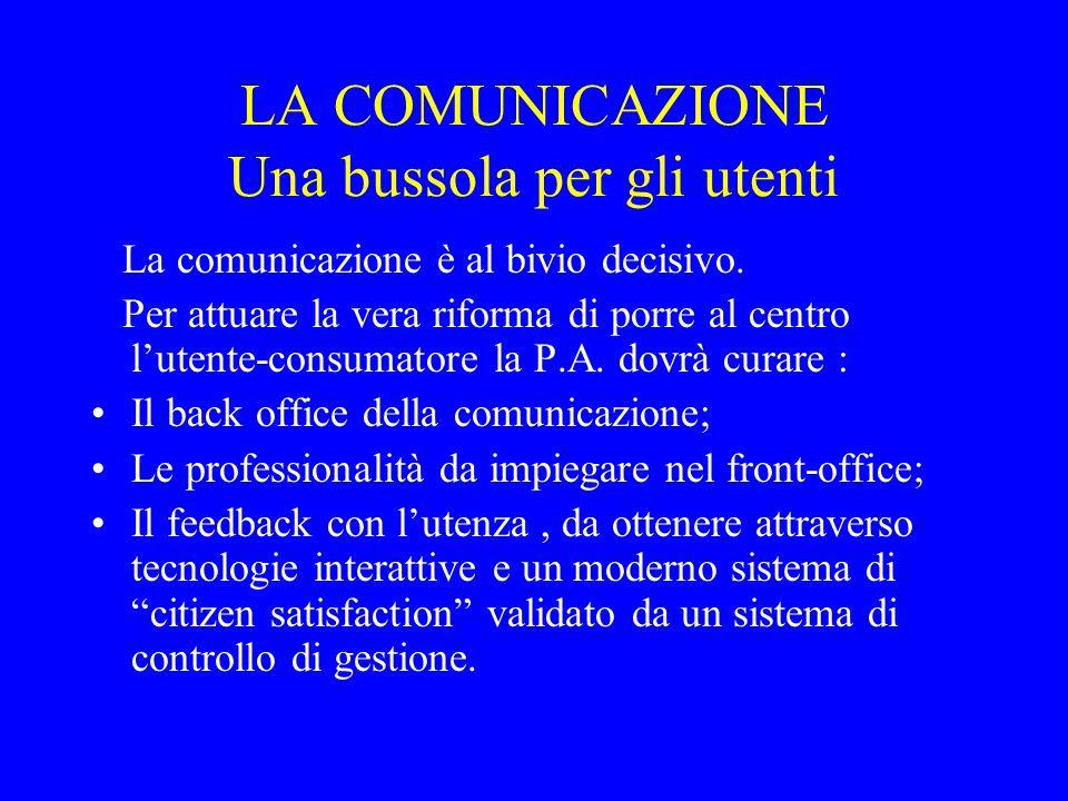 LA COMUNICAZIONE Una bussola per gli utenti La comunicazione è al bivio decisivo.
