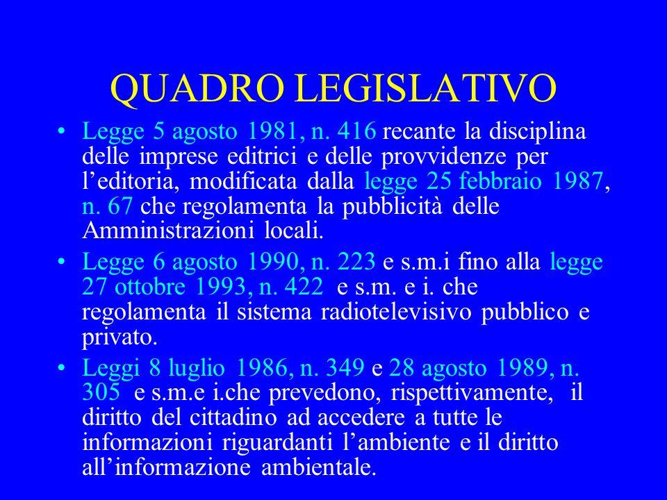 QUADRO LEGISLATIVO Legge 5 agosto 1981, n.