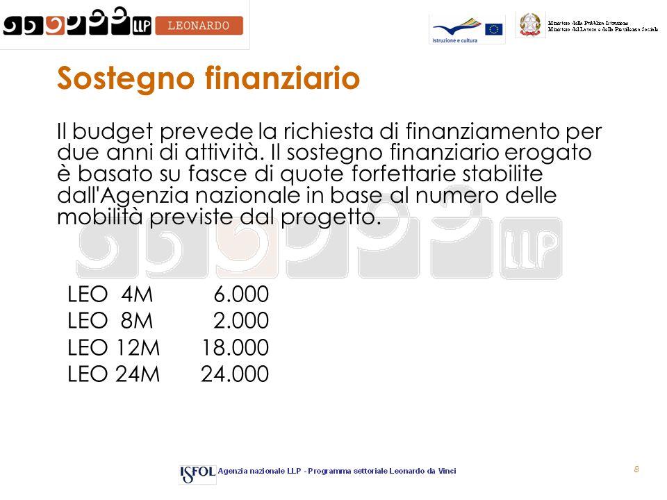 8 Sostegno finanziario Il budget prevede la richiesta di finanziamento per due anni di attività.