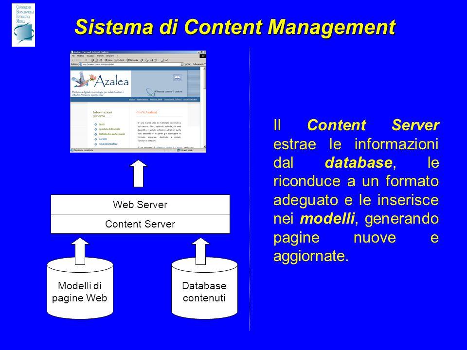 Sistema di Content Management Modelli di pagine Web Database contenuti Content Server Il Content Server estrae le informazioni dal database, le riconduce a un formato adeguato e le inserisce nei modelli, generando pagine nuove e aggiornate.