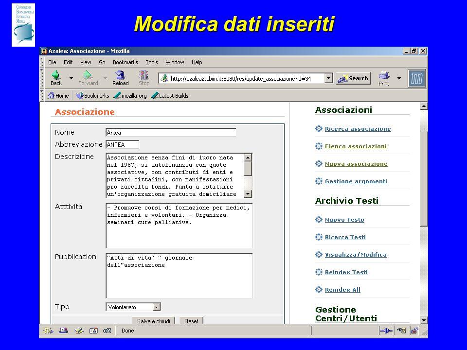 Modifica dati inseriti