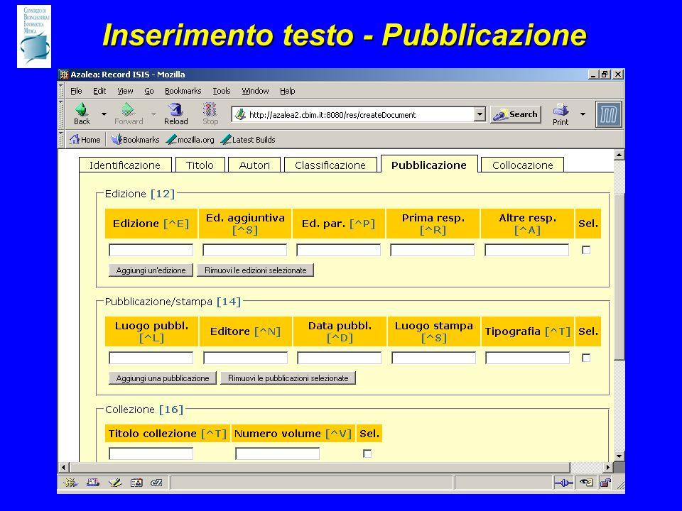 Inserimento testo - Pubblicazione