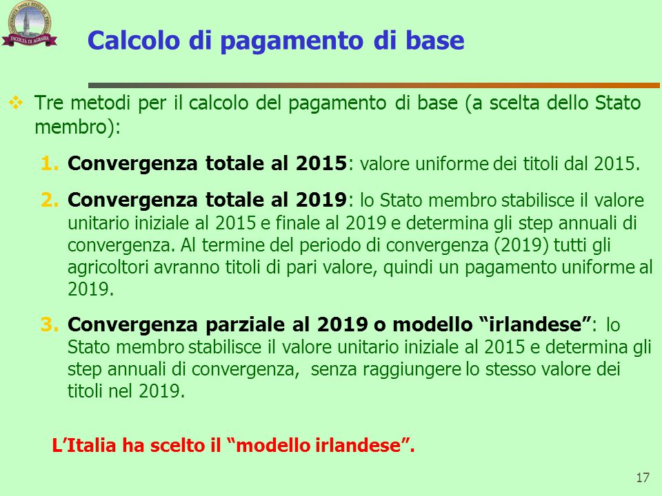 Calcolo di pagamento di base  Tre metodi per il calcolo del pagamento di base (a scelta dello Stato membro): 1.Convergenza totale al 2015: valore uniforme dei titoli dal 2015.