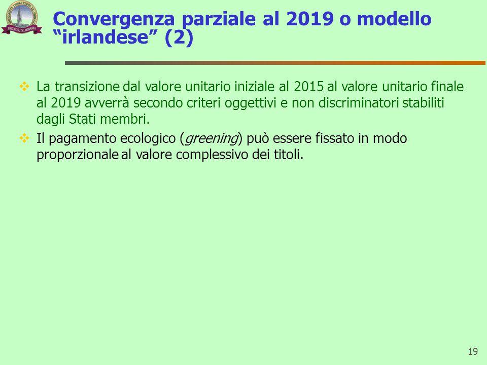 Convergenza parziale al 2019 o modello irlandese (2) 19  La transizione dal valore unitario iniziale al 2015 al valore unitario finale al 2019 avverrà secondo criteri oggettivi e non discriminatori stabiliti dagli Stati membri.