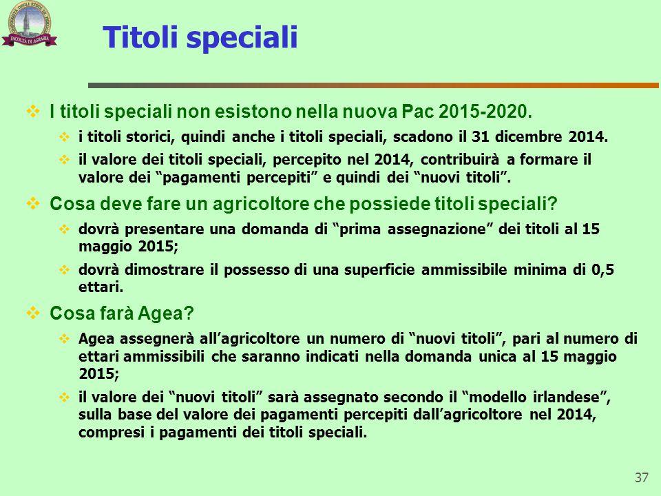 Titoli speciali 37  I titoli speciali non esistono nella nuova Pac 2015-2020.  i titoli storici, quindi anche i titoli speciali, scadono il 31 dicem