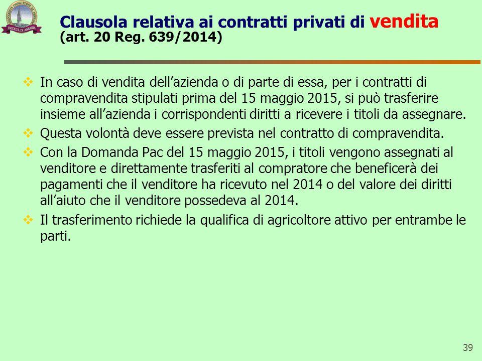 Clausola relativa ai contratti privati di vendita (art.