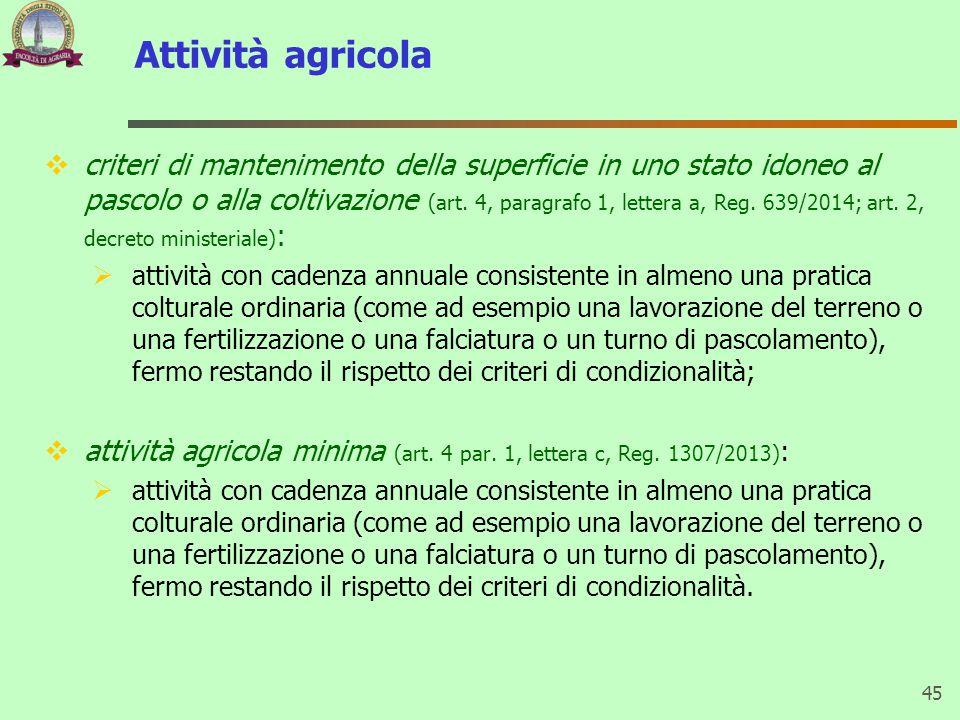 Attività agricola  criteri di mantenimento della superficie in uno stato idoneo al pascolo o alla coltivazione (art.