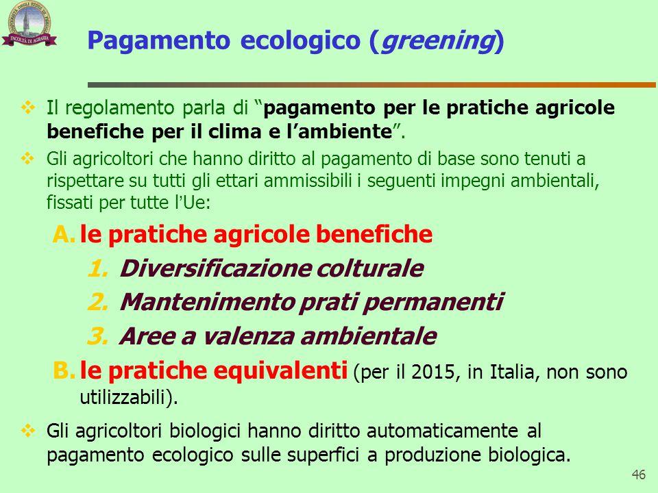 Pagamento ecologico (greening)  Il regolamento parla di pagamento per le pratiche agricole benefiche per il clima e l'ambiente .