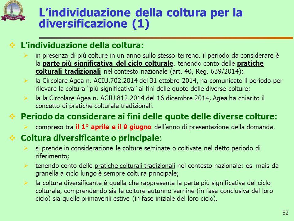 L'individuazione della coltura per la diversificazione (1)  L'individuazione della coltura:  in presenza di più colture in un anno sullo stesso terr