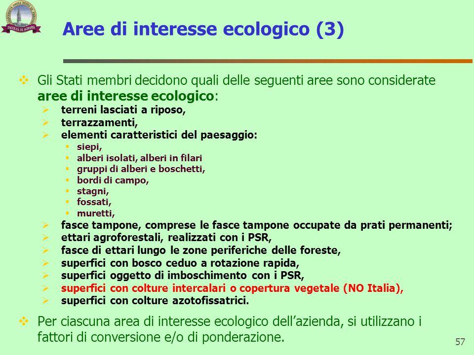 Aree di interesse ecologico (3)  Gli Stati membri decidono quali delle seguenti aree sono considerate aree di interesse ecologico:  terreni lasciati