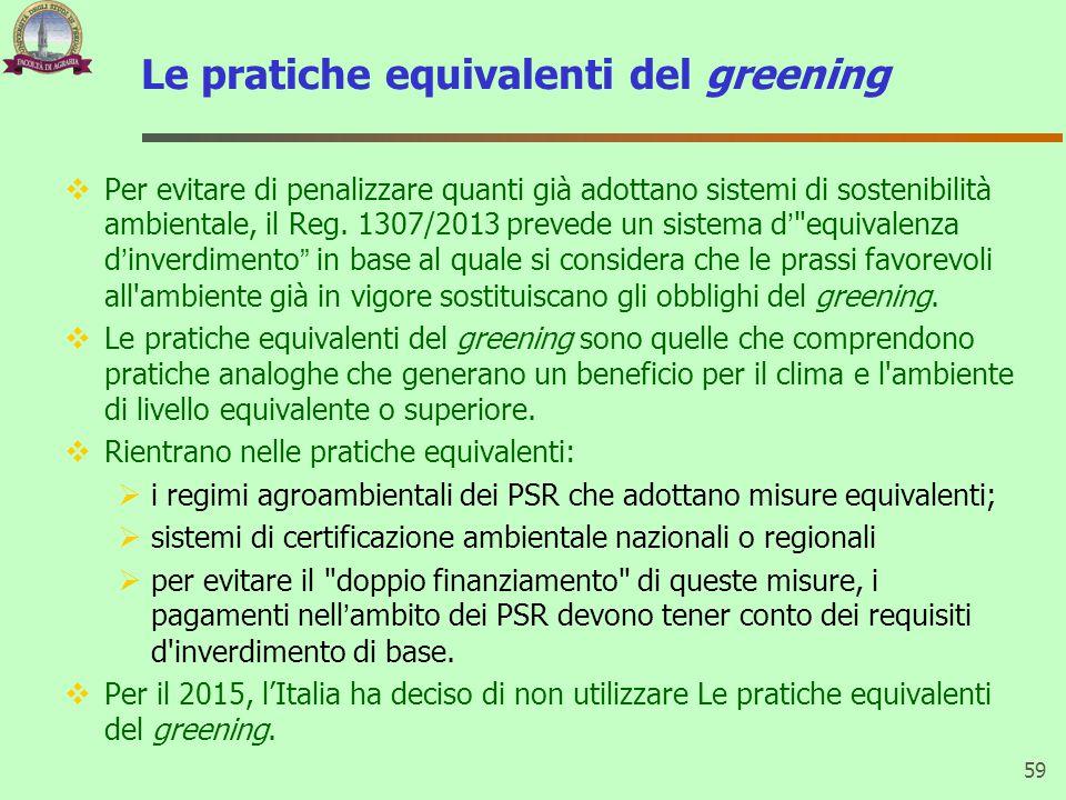Le pratiche equivalenti del greening  Per evitare di penalizzare quanti già adottano sistemi di sostenibilità ambientale, il Reg.