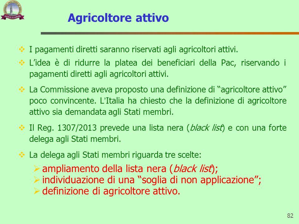 Agricoltore attivo  I pagamenti diretti saranno riservati agli agricoltori attivi.  L'idea è di ridurre la platea dei beneficiari della Pac, riserva