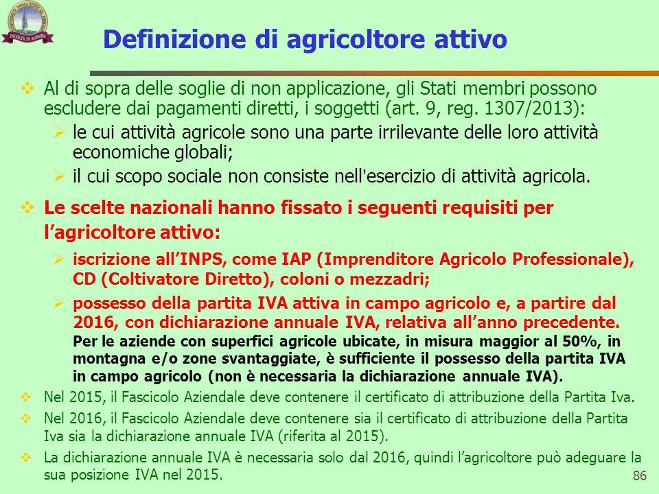 Definizione di agricoltore attivo  Al di sopra delle soglie di non applicazione, gli Stati membri possono escludere dai pagamenti diretti, i soggetti (art.