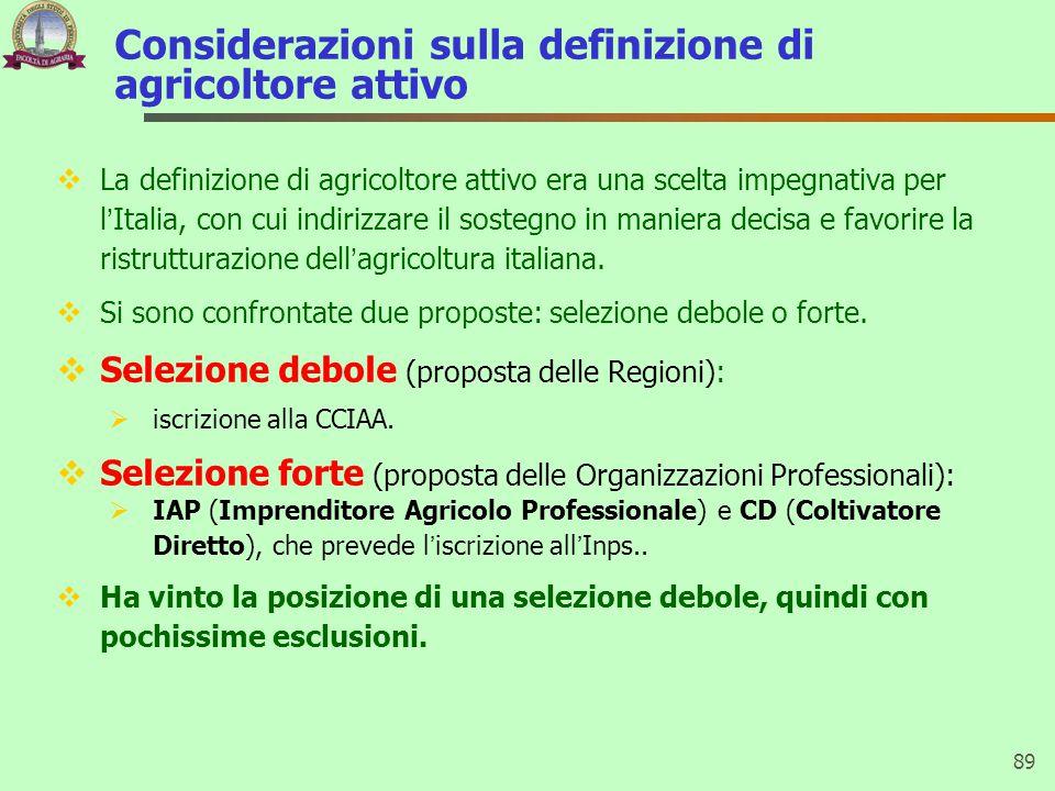 Considerazioni sulla definizione di agricoltore attivo  La definizione di agricoltore attivo era una scelta impegnativa per l'Italia, con cui indirizzare il sostegno in maniera decisa e favorire la ristrutturazione dell'agricoltura italiana.