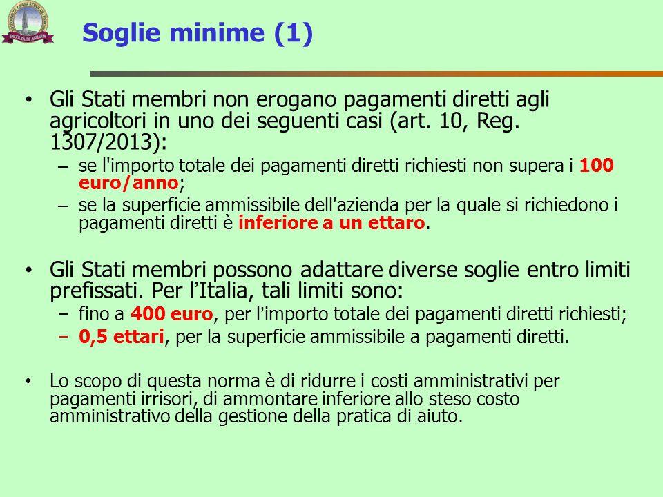 Gli Stati membri non erogano pagamenti diretti agli agricoltori in uno dei seguenti casi (art. 10, Reg. 1307/2013): – se l'importo totale dei pagament