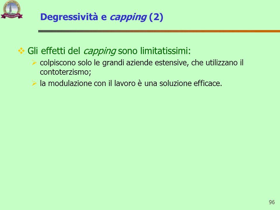 Degressività e capping (2) 96  Gli effetti del capping sono limitatissimi:  colpiscono solo le grandi aziende estensive, che utilizzano il contoterzismo;  la modulazione con il lavoro è una soluzione efficace.
