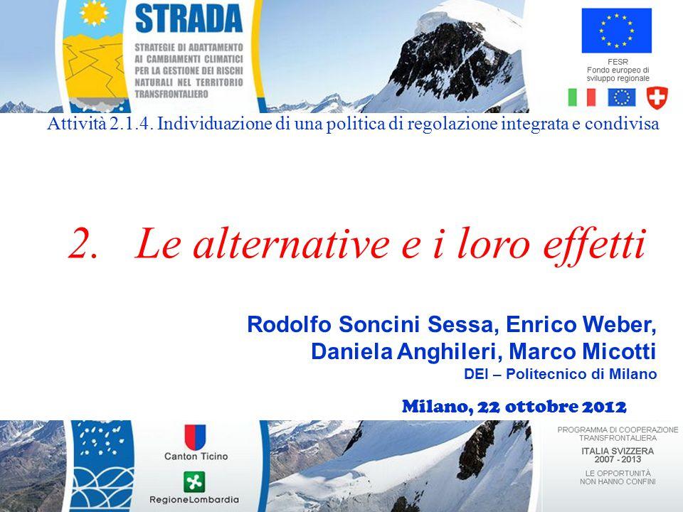 Lo scenario: dati di afflusso Isola S. Antonio Pavia Miorina Afflusso al Verbano