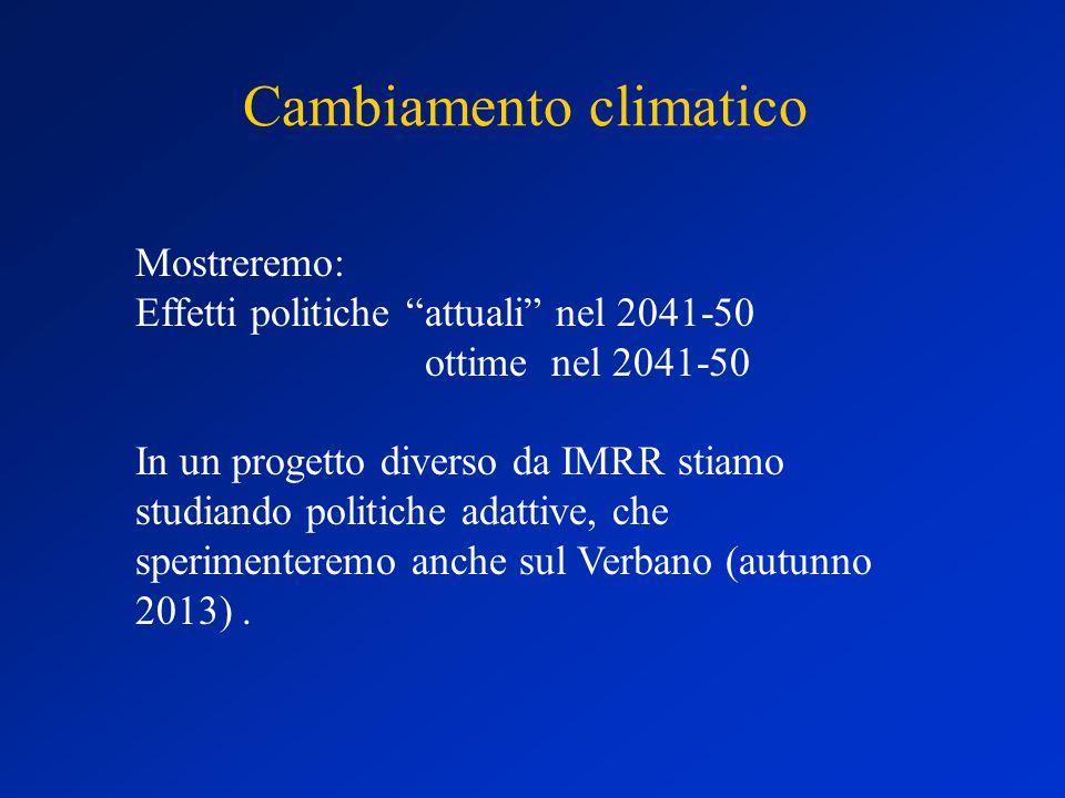 Cambiamento climatico Mostreremo: Effetti politiche attuali nel 2041-50 ottime nel 2041-50 In un progetto diverso da IMRR stiamo studiando politiche adattive, che sperimenteremo anche sul Verbano (autunno 2013).