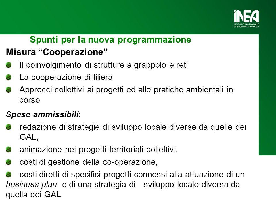 """Spunti per la nuova programmazione Misura """"Cooperazione"""" Il coinvolgimento di strutture a grappolo e reti La cooperazione di filiera Approcci colletti"""