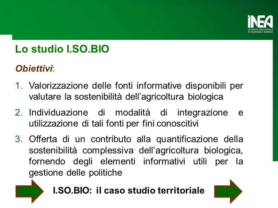 Lo studio I.SO.BIO Obiettivi: 1.Valorizzazione delle fonti informative disponibili per valutare la sostenibilità dell'agricoltura biologica 2.Individu