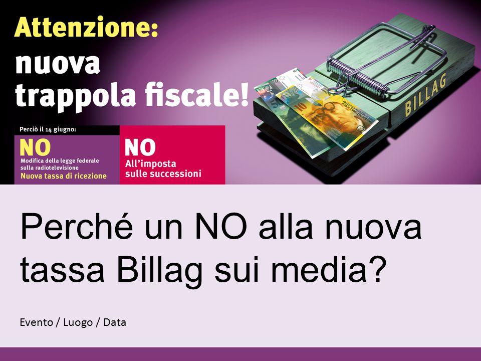 Perché un NO alla nuova tassa Billag sui media Evento / Luogo / Data