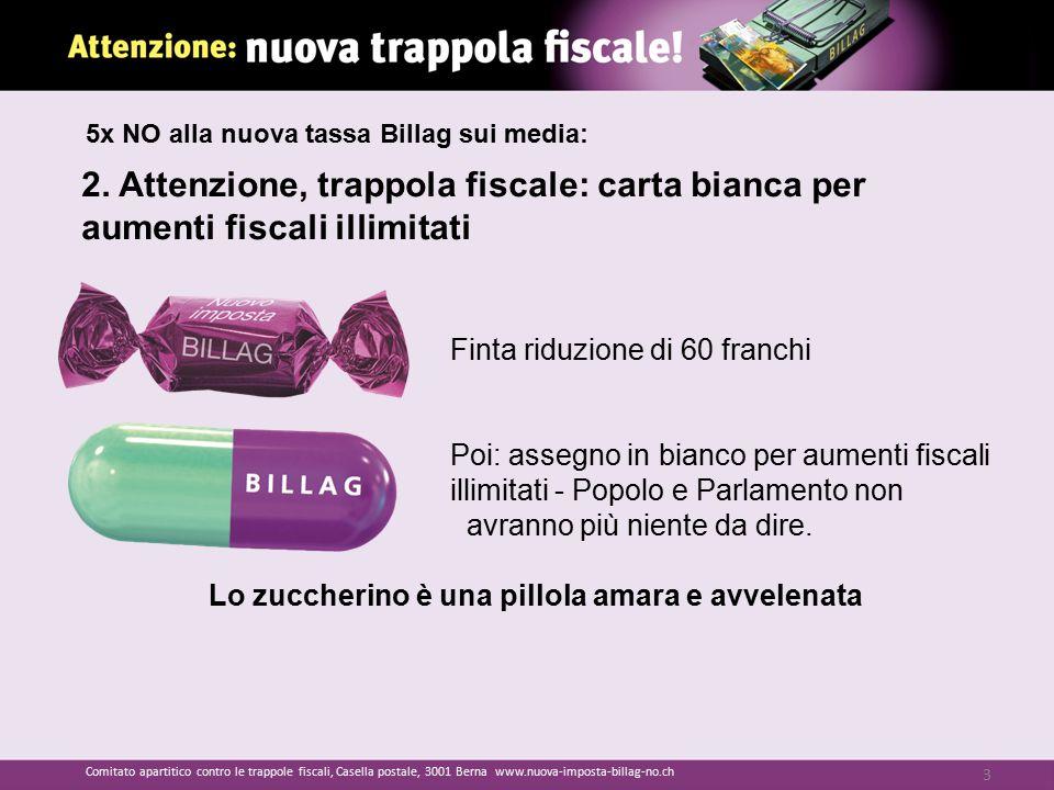 2. Attenzione, trappola fiscale: carta bianca per aumenti fiscali illimitati Finta riduzione di 60 franchi Poi: assegno in bianco per aumenti fiscali
