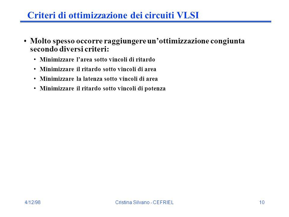 4/12/98Cristina Silvano - CEFRIEL10 Criteri di ottimizzazione dei circuiti VLSI Molto spesso occorre raggiungere un'ottimizzazione congiunta secondo diversi criteri: Minimizzare l'area sotto vincoli di ritardo Minimizzare il ritardo sotto vincoli di area Minimizzare la latenza sotto vincoli di area Minimizzare il ritardo sotto vincoli di potenza