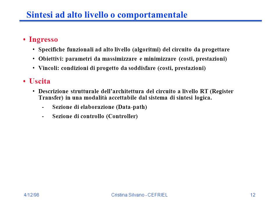 4/12/98Cristina Silvano - CEFRIEL12 Sintesi ad alto livello o comportamentale Ingresso Specifiche funzionali ad alto livello (algoritmi) del circuito