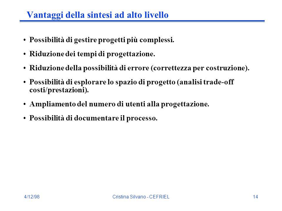 4/12/98Cristina Silvano - CEFRIEL14 Vantaggi della sintesi ad alto livello Possibilità di gestire progetti più complessi. Riduzione dei tempi di proge