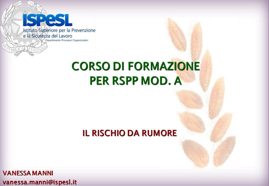 IL RISCHIO DA RUMORE VANESSA MANNI vanessa.manni@ispesl.it CORSO DI FORMAZIONE PER RSPP MOD. A