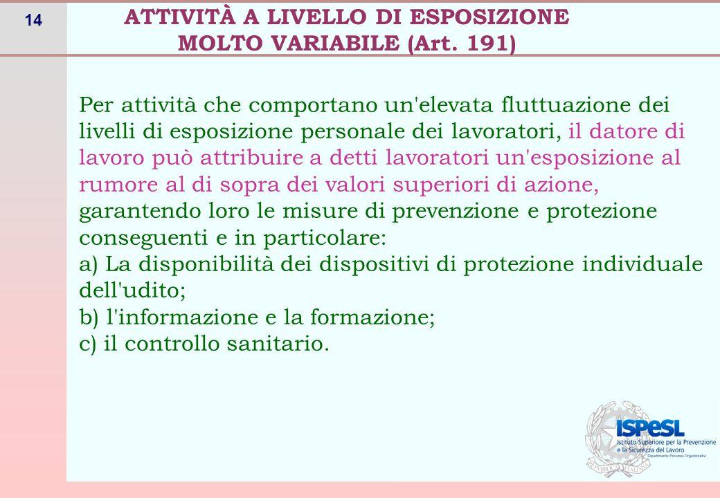 14 ATTIVITÀ A LIVELLO DI ESPOSIZIONE MOLTO VARIABILE (Art. 191) Per attività che comportano un'elevata fluttuazione dei livelli di esposizione persona