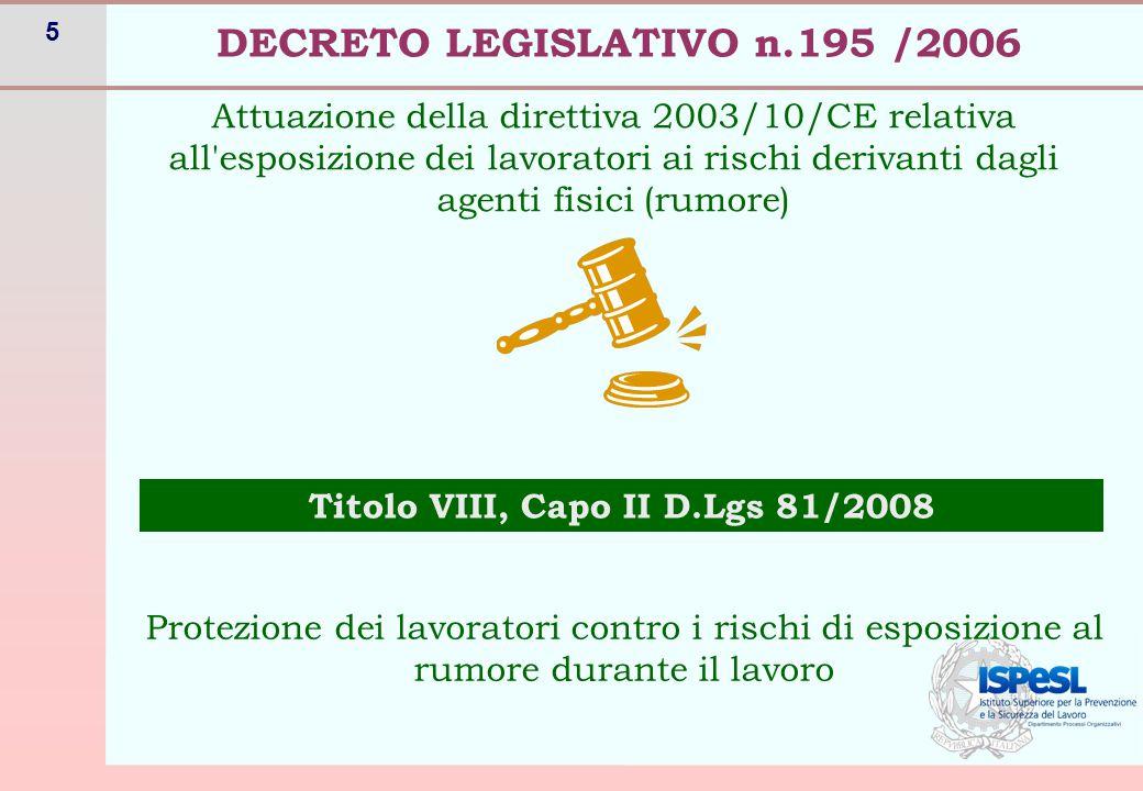 5 Attuazione della direttiva 2003/10/CE relativa all esposizione dei lavoratori ai rischi derivanti dagli agenti fisici (rumore) DECRETO LEGISLATIVO n.195 /2006 Titolo VIII, Capo II D.Lgs 81/2008 Protezione dei lavoratori contro i rischi di esposizione al rumore durante il lavoro