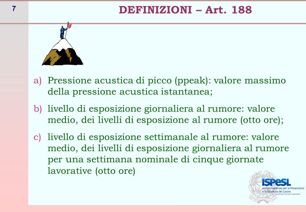 7 a)Pressione acustica di picco (ppeak): valore massimo della pressione acustica istantanea; b)livello di esposizione giornaliera al rumore: valore me