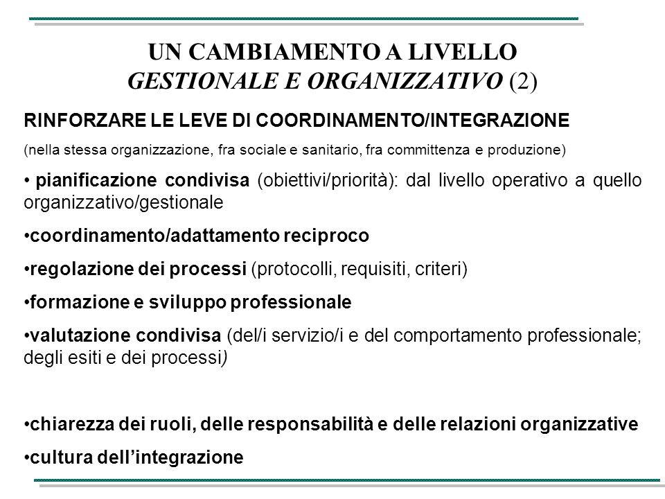 UN CAMBIAMENTO A LIVELLO GESTIONALE E ORGANIZZATIVO (2) RINFORZARE LE LEVE DI COORDINAMENTO/INTEGRAZIONE (nella stessa organizzazione, fra sociale e sanitario, fra committenza e produzione) pianificazione condivisa (obiettivi/priorità): dal livello operativo a quello organizzativo/gestionale coordinamento/adattamento reciproco regolazione dei processi (protocolli, requisiti, criteri) formazione e sviluppo professionale valutazione condivisa (del/i servizio/i e del comportamento professionale; degli esiti e dei processi) chiarezza dei ruoli, delle responsabilità e delle relazioni organizzative cultura dell'integrazione