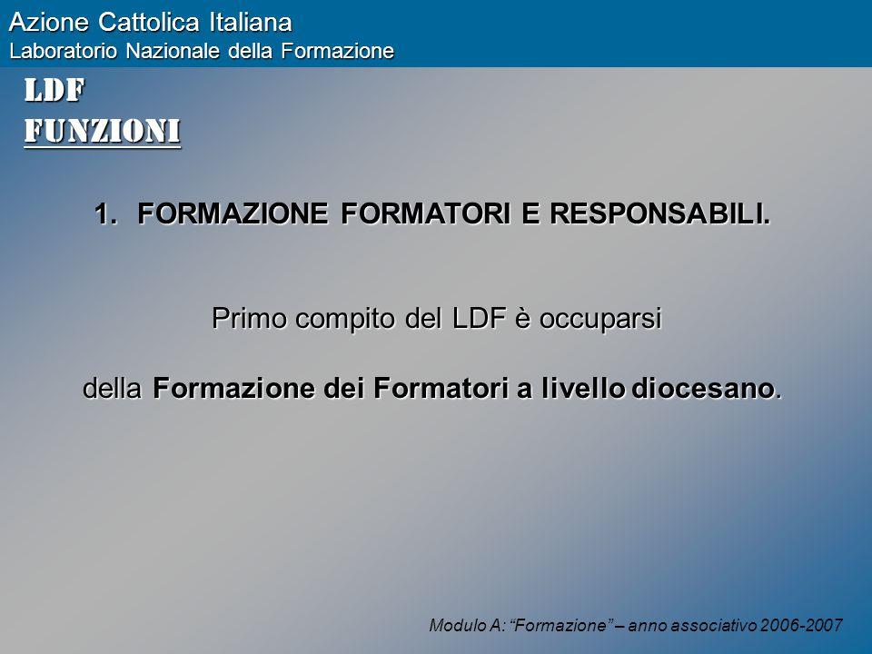 Modulo A: Formazione – anno associativo 2006-2007 Azione Cattolica Italiana Laboratorio Nazionale della Formazione LDFFunzioni 1.FORMAZIONE FORMATORI E RESPONSABILI.