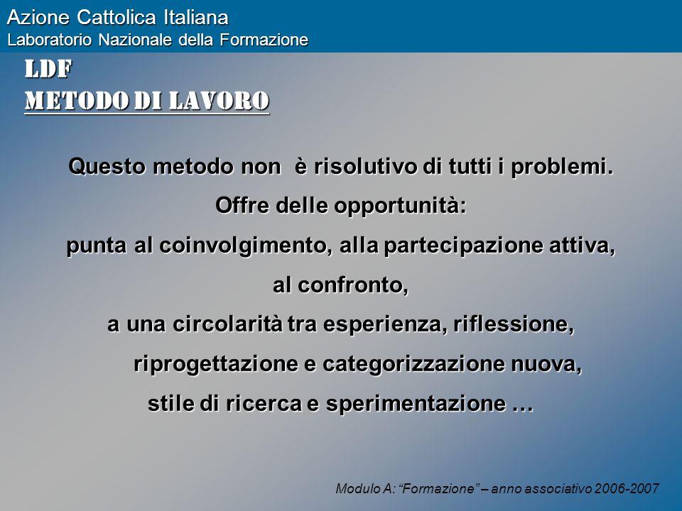 Modulo A: Formazione – anno associativo 2006-2007 Azione Cattolica Italiana Laboratorio Nazionale della Formazione LDF Metodo di lavoro Questo metodo non è risolutivo di tutti i problemi.