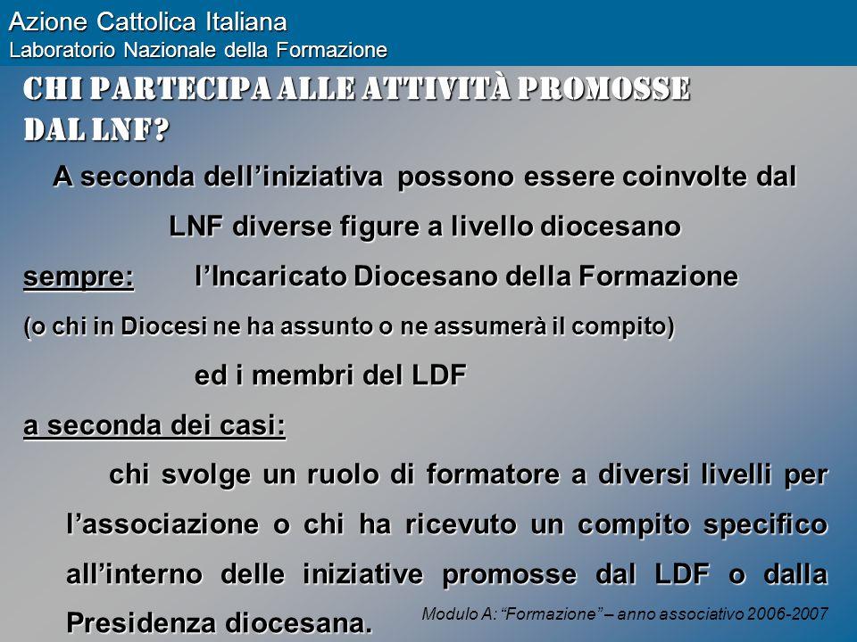 Modulo A: Formazione – anno associativo 2006-2007 Azione Cattolica Italiana Laboratorio Nazionale della Formazione Chi partecipa alle attività promosse dal LNF.
