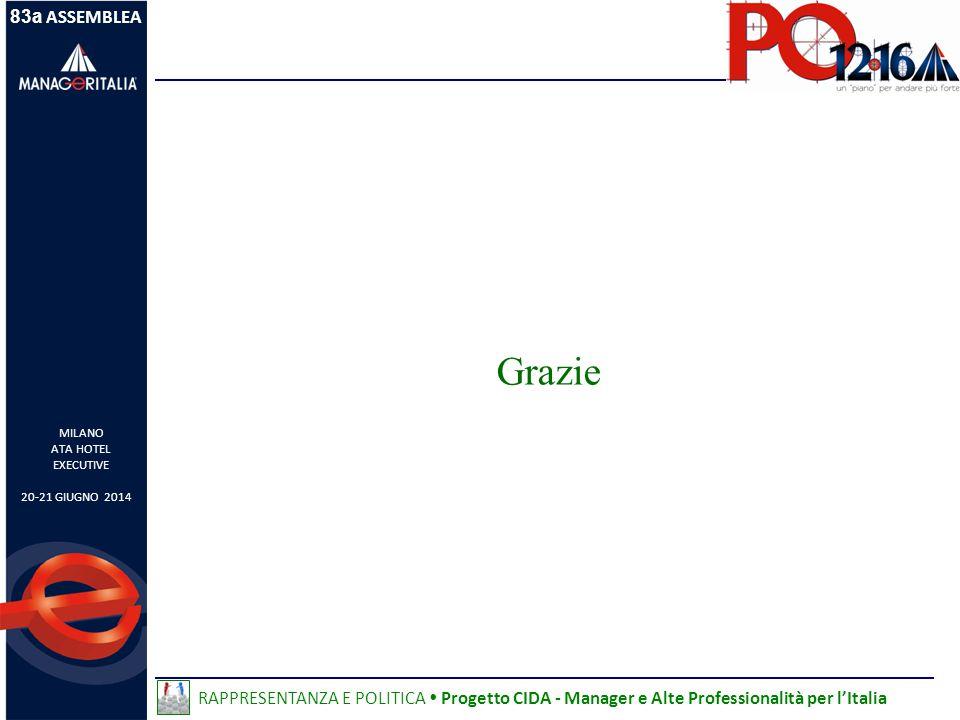 83a ASSEMBLEA MILANO ATA HOTEL EXECUTIVE 20-21 GIUGNO 2014 RAPPRESENTANZA E POLITICA  Progetto CIDA - Manager e Alte Professionalità per l'Italia Grazie
