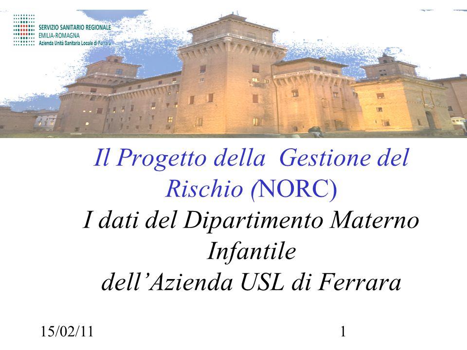 15/02/111 Il Progetto della Gestione del Rischio (NORC) I dati del Dipartimento Materno Infantile dell'Azienda USL di Ferrara