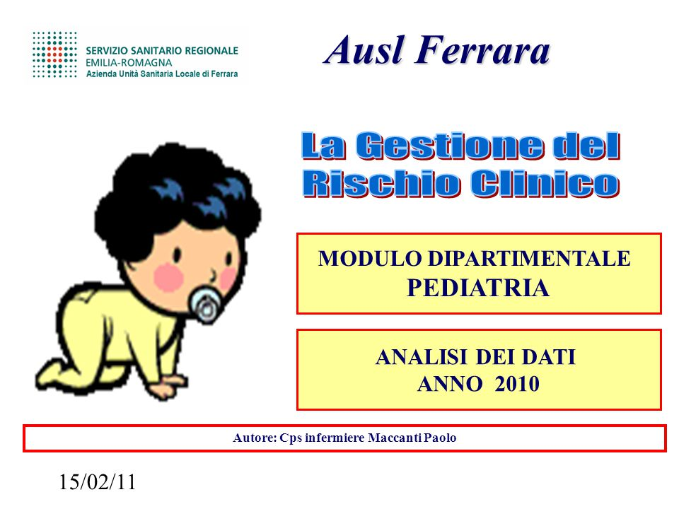 15/02/11 Ausl Ferrara Ausl Ferrara MODULO DIPARTIMENTALE PEDIATRIA Autore: Cps infermiere Maccanti Paolo ANALISI DEI DATI ANNO 2010