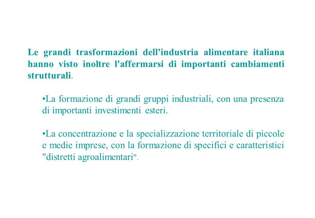 Le grandi trasformazioni dell'industria alimentare italiana hanno visto inoltre l'affermarsi di importanti cambiamenti strutturali. La formazione di g