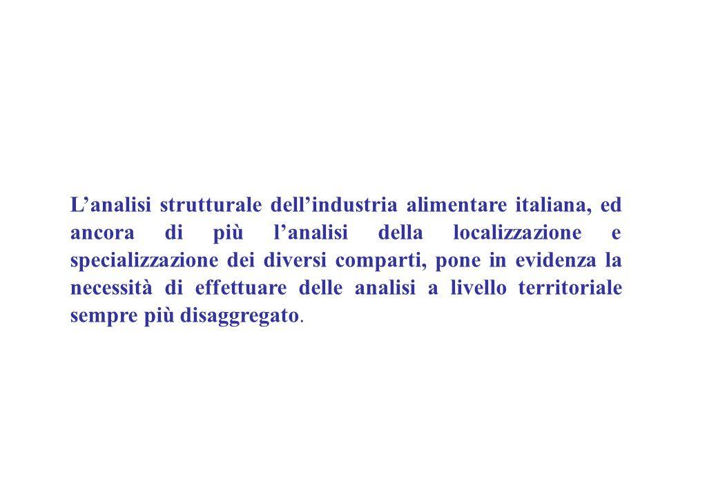 L'analisi strutturale dell'industria alimentare italiana, ed ancora di più l'analisi della localizzazione e specializzazione dei diversi comparti, pone in evidenza la necessità di effettuare delle analisi a livello territoriale sempre più disaggregato.