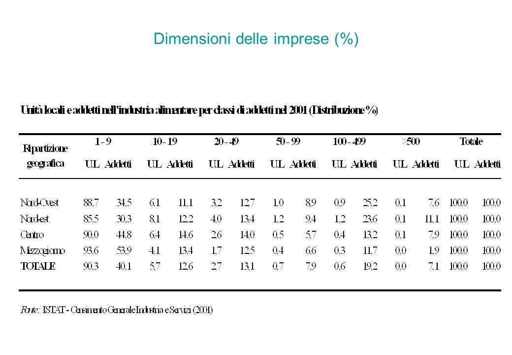 Dimensioni delle imprese (%)