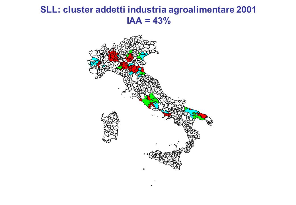 SLL: cluster addetti industria agroalimentare 2001 IAA = 43%