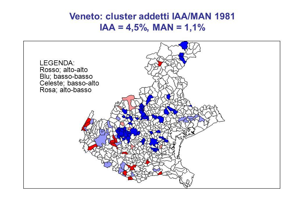 Veneto: cluster addetti IAA/MAN 1981 IAA = 4,5%, MAN = 1,1% LEGENDA: Rosso; alto-alto Blu; basso-basso Celeste; basso-alto Rosa; alto-basso