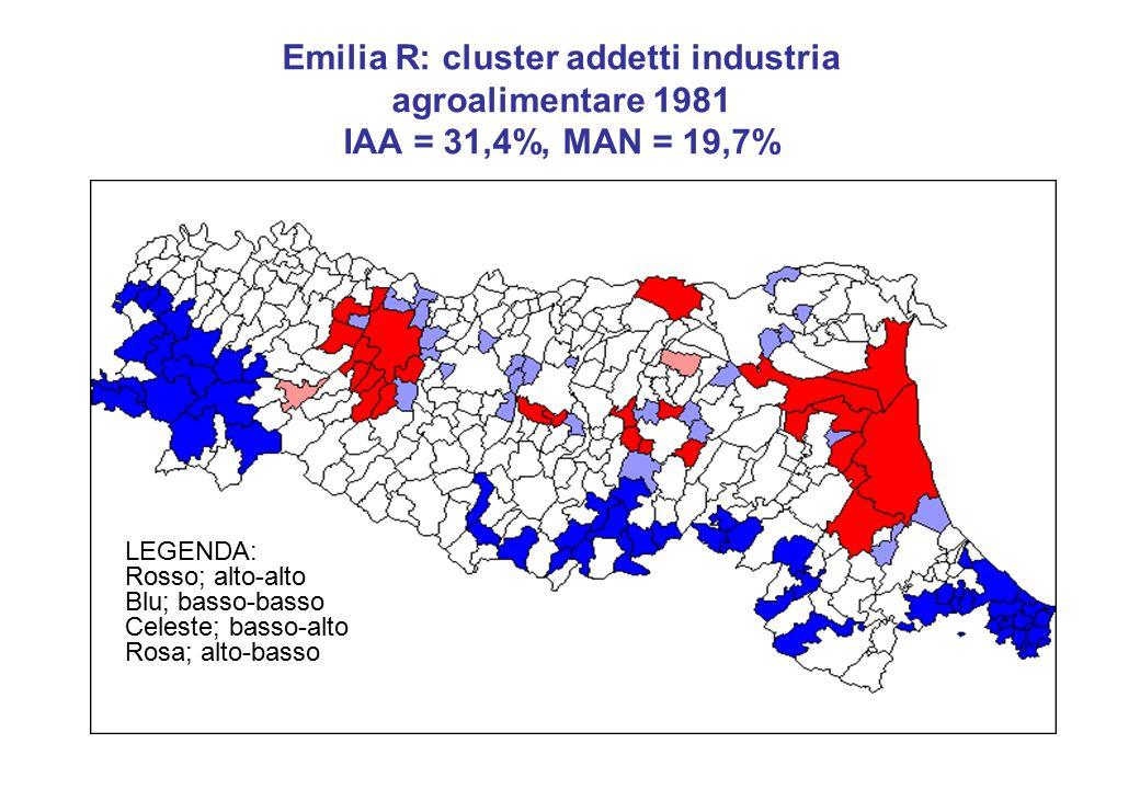 Emilia R: cluster addetti industria agroalimentare 1981 IAA = 31,4%, MAN = 19,7% LEGENDA: Rosso; alto-alto Blu; basso-basso Celeste; basso-alto Rosa; alto-basso
